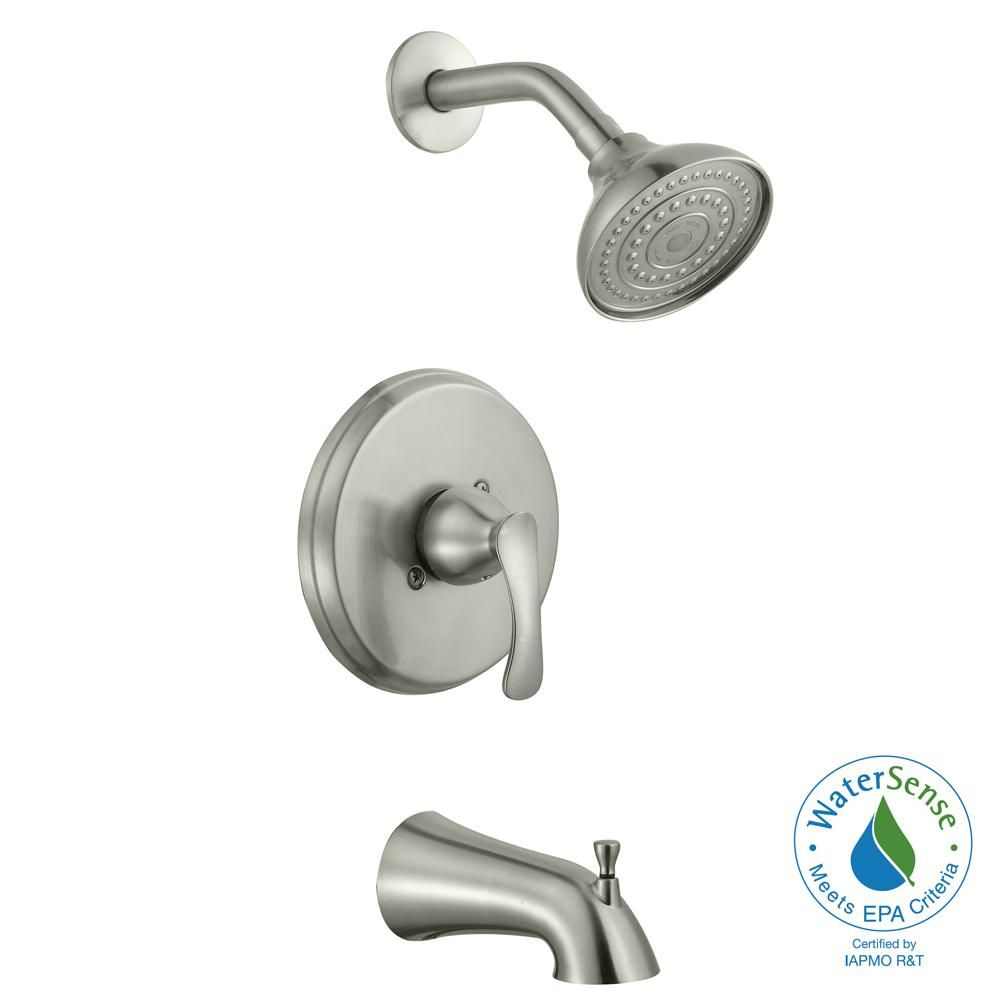 Glacier Bay Edgewood Single Handle 1 Spray Tub And Shower Faucet In Brushed Nickel Valve Included 873w 4004 The Home Depot Shower Faucet Shower Tub Tub And Shower Faucets