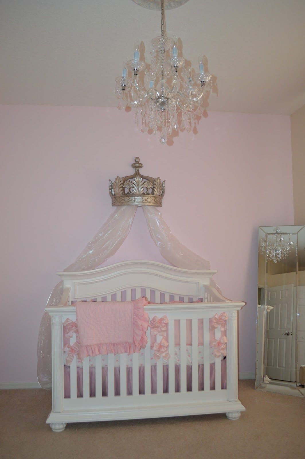 The Sweet Little Southern Charm By Tara Miller Pink Nursery Baby Crowns Pottery Barn Bedding Crib White Chandelier Canopy Mirror
