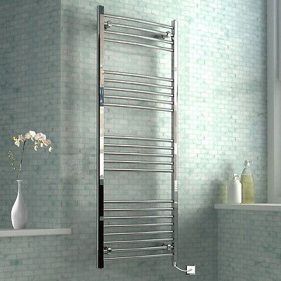 Thermostatic-Electric-Heated-Towel-Rails-Modern-Bathroom-Curved-Chrome-Radiators