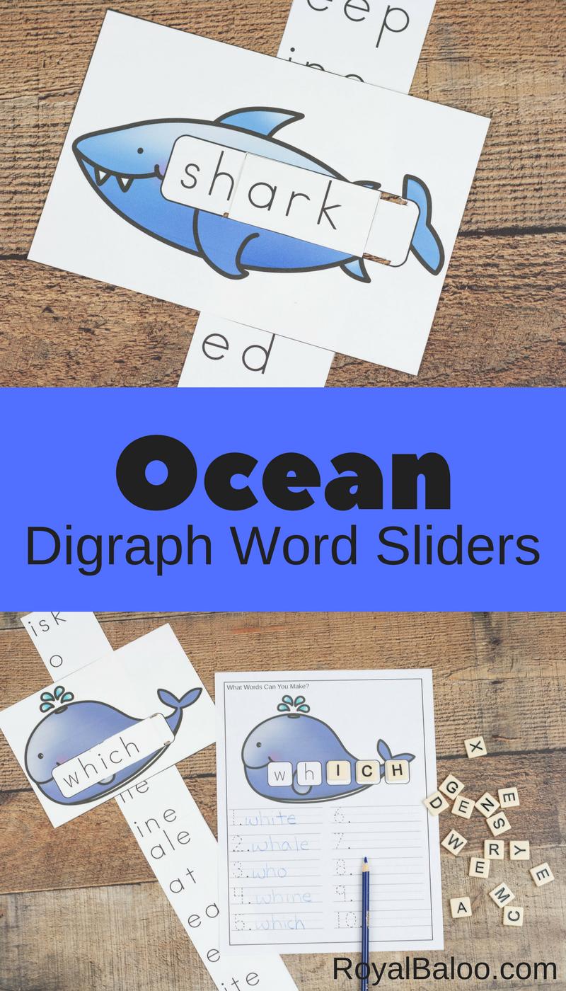 Ocean Digraph Sliders for Fun Reading Practice | Pinterest