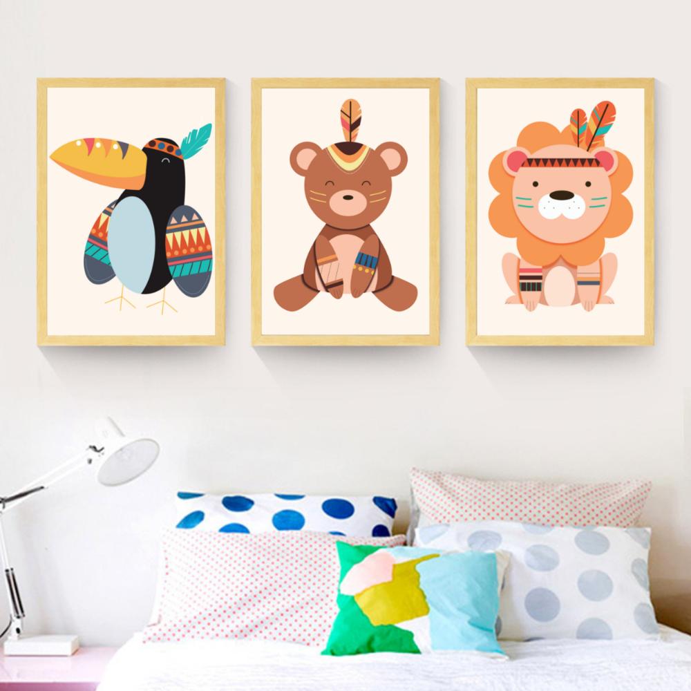 Poster Toile - Lion tribu indienne  Décoration chambre enfant