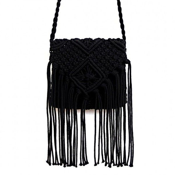 Yoins Beach Crochet  Knotted Fringed Crossbody in Black ($20) ❤ liked on Polyvore featuring bags, handbags, shoulder bags, black, fringe purse crossbody, fringe shoulder bag, purse crossbody, handbags shoulder bags and handbags crossbody