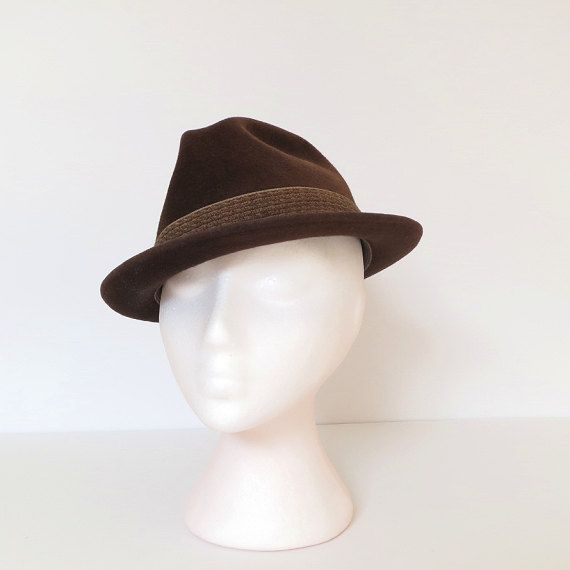 a184b3be77955 vintage men s brown trilby hat   40s 50s fur felt fedora hat   Biltmore    size 7 small on Etsy