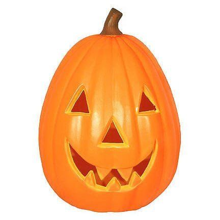 28 lighted plastic pumpkin by add a happy halloween effect to your yard. Black Bedroom Furniture Sets. Home Design Ideas