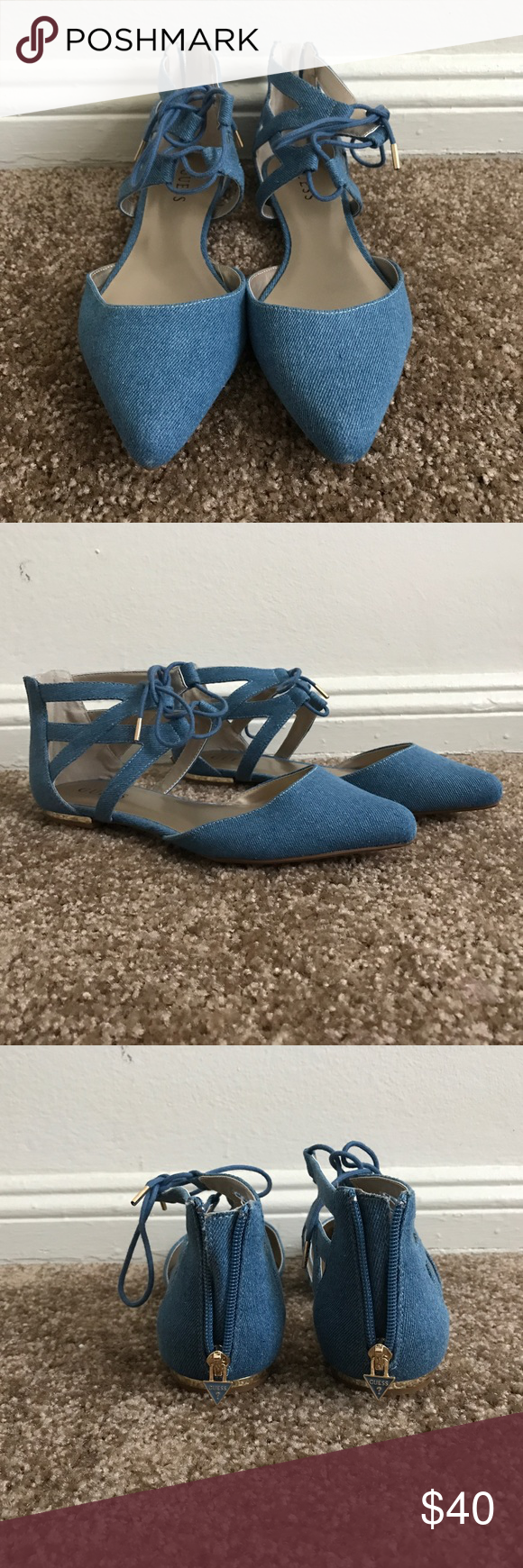 Guess Flats Guess Jeans material Flats with back zipper! New!!! Never worn in great condition!! Size 9 Guess Shoes Flats & Loafers