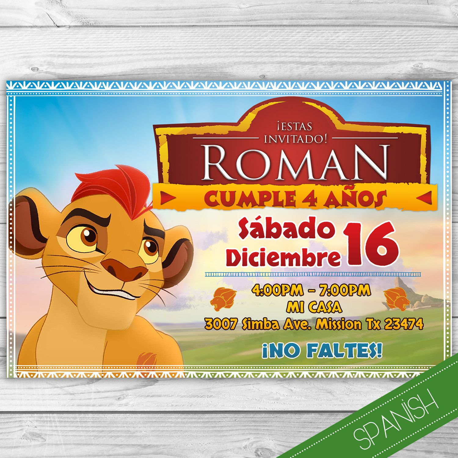 La Guarida del Leon Invitacion Espa ol Spanish Invitation Lion