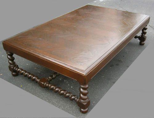 Oversized Vintage Spanish Style Walnut Wood Coffee Table Herring