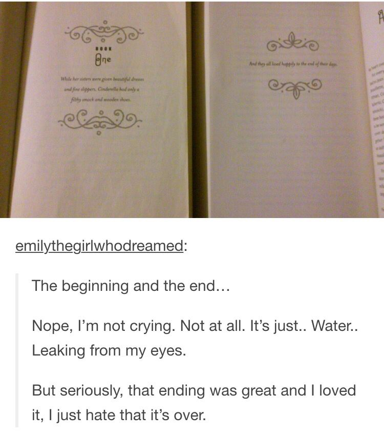 The beginning and the end<<< I loves this series so much and I couldn't have asked for a better ending. (I do wish it wasn't over though!!)