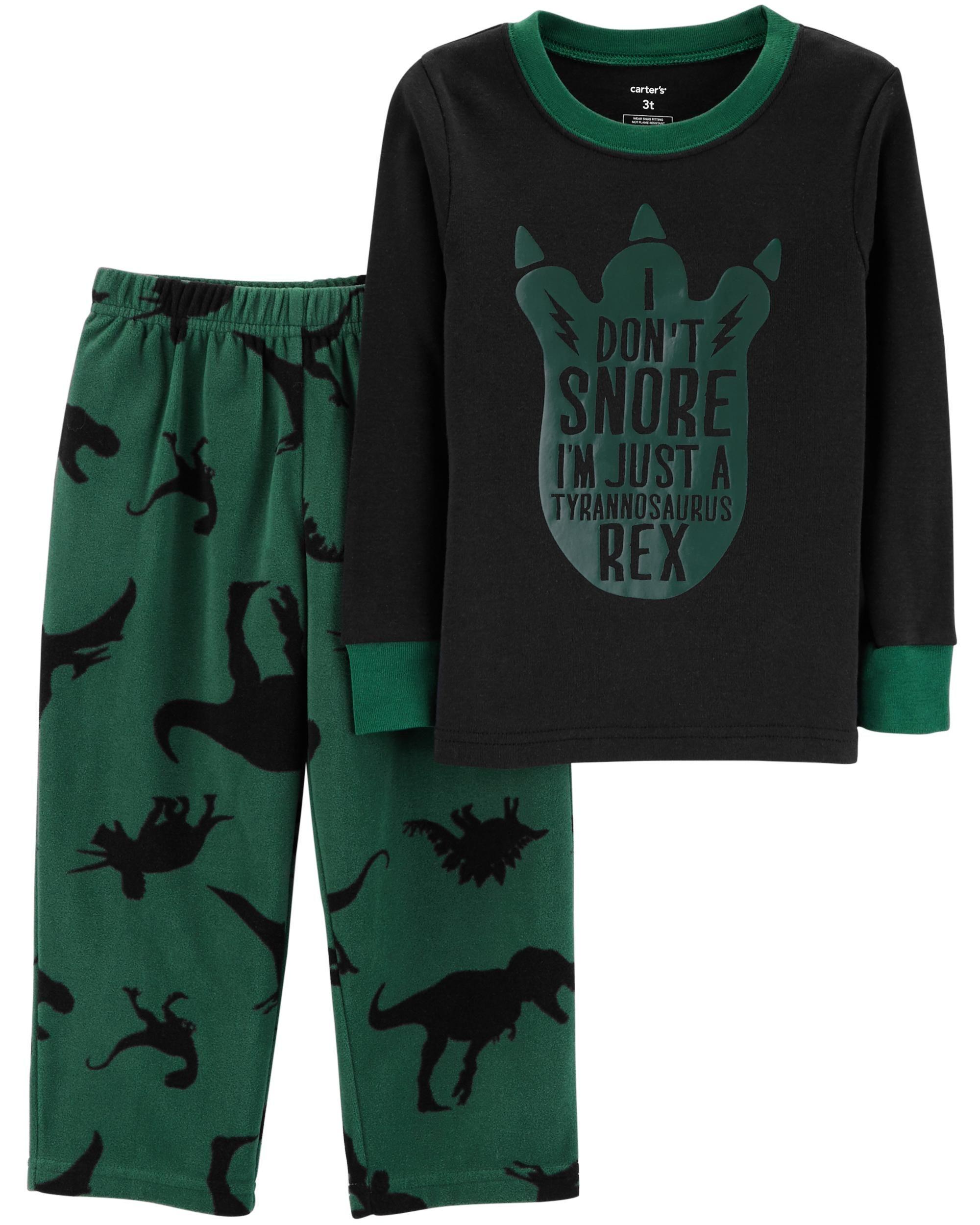 fc6808c41e4e 2-Piece Dinosaur Snug Fit Cotton   Fleece PJs