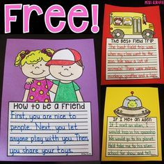 Writing crafts that are no prep and FREE!! Students write, color, cut, and glue to make super cute writing activities to hang up. This FREE pack has a how to writing, creative writing, and opinion writing prompt included!