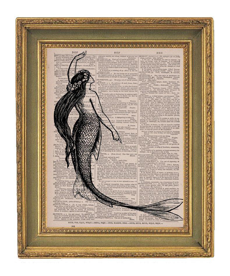 Mermaid print vintage dictionary art print upcycled