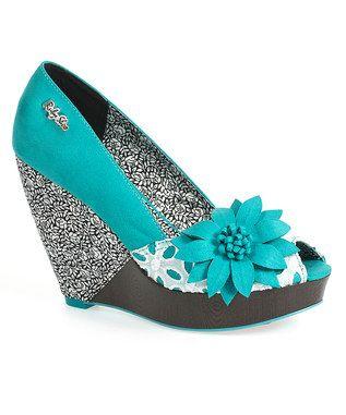 Aqua Greta Pee-Toe Wedges from Ruby Shoe, 1950s Shoes on zulily.co.uk