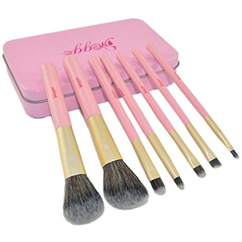Muxika Fashion 7PCS Pink Tin Box Makeup Brush Set Makeup
