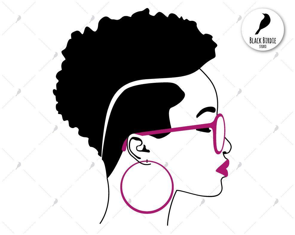 Black Woman Svg Black Woman Clipart Earrings Svg Frame Etsy Woman Face Silhouette Black Girl Magic Art Black Women Art
