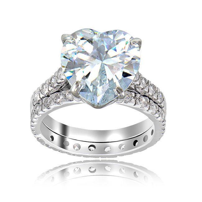 Icz Stonez Sterling Silver Cubic Zirconia 6ct TGW Bridal Ring Set