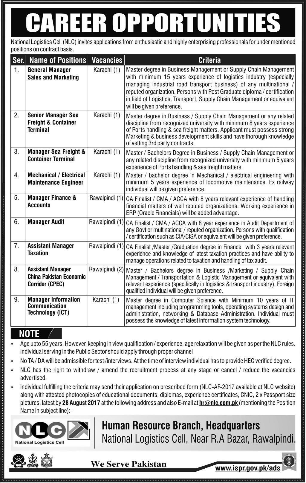 National Logistic Cell Jobs Nlc Jobs In Karachi  Rawalpindi