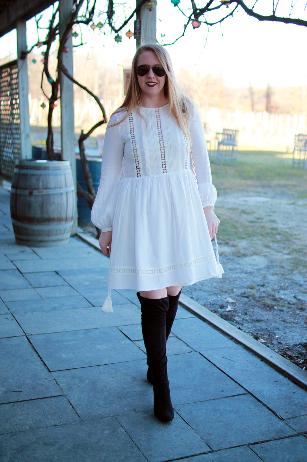 how to wear a white dress in winter