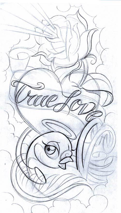 Love Tattoo Outlines: Gallery Symbols Love Bird2 Tattoo Free