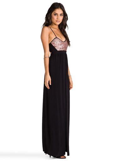 T-BAGS LOSANGELES Blush Sequins w/ Black Skirt Dress in Blush/Black - Dresses