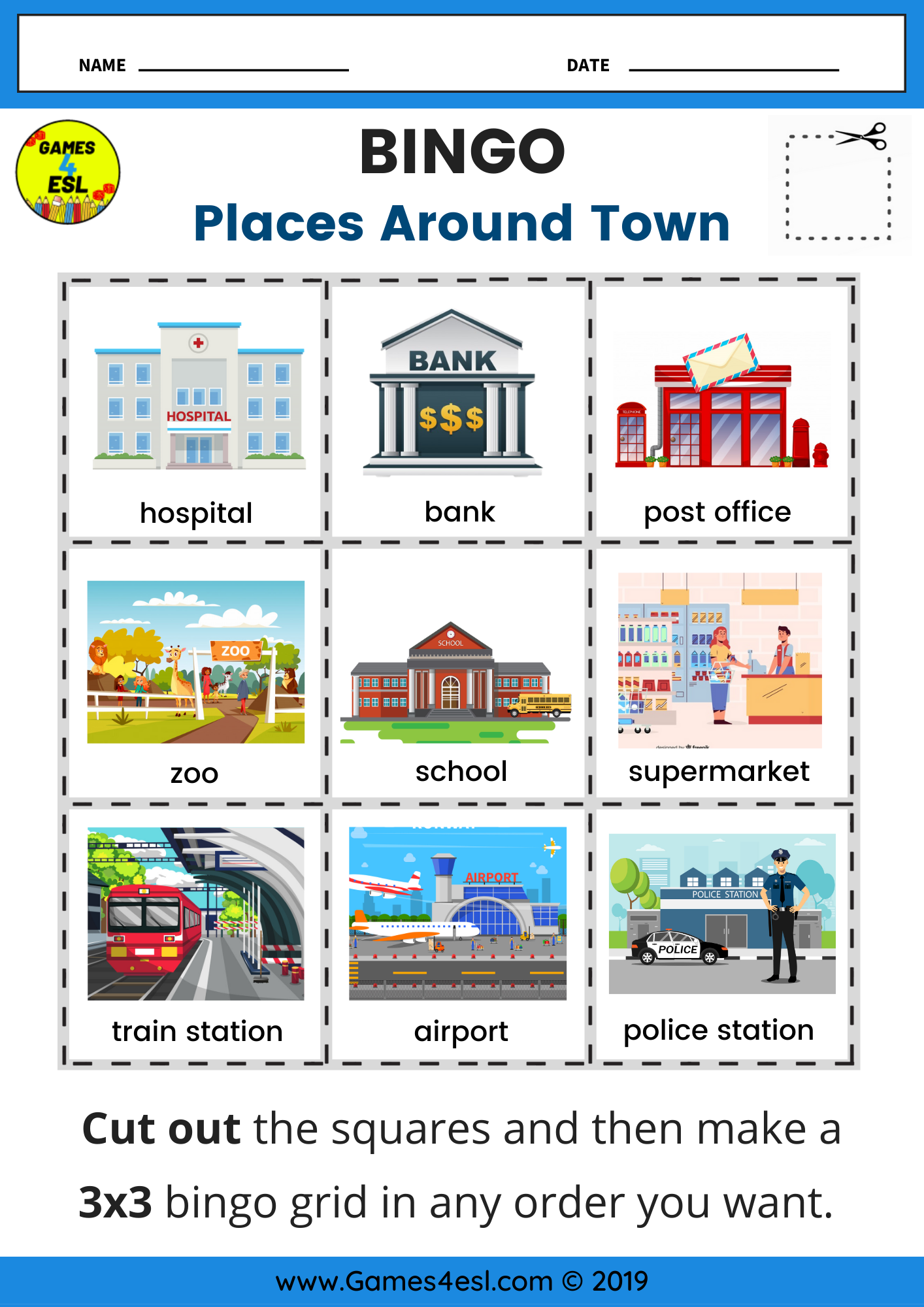 Places Around Town Bingo Worksheet In