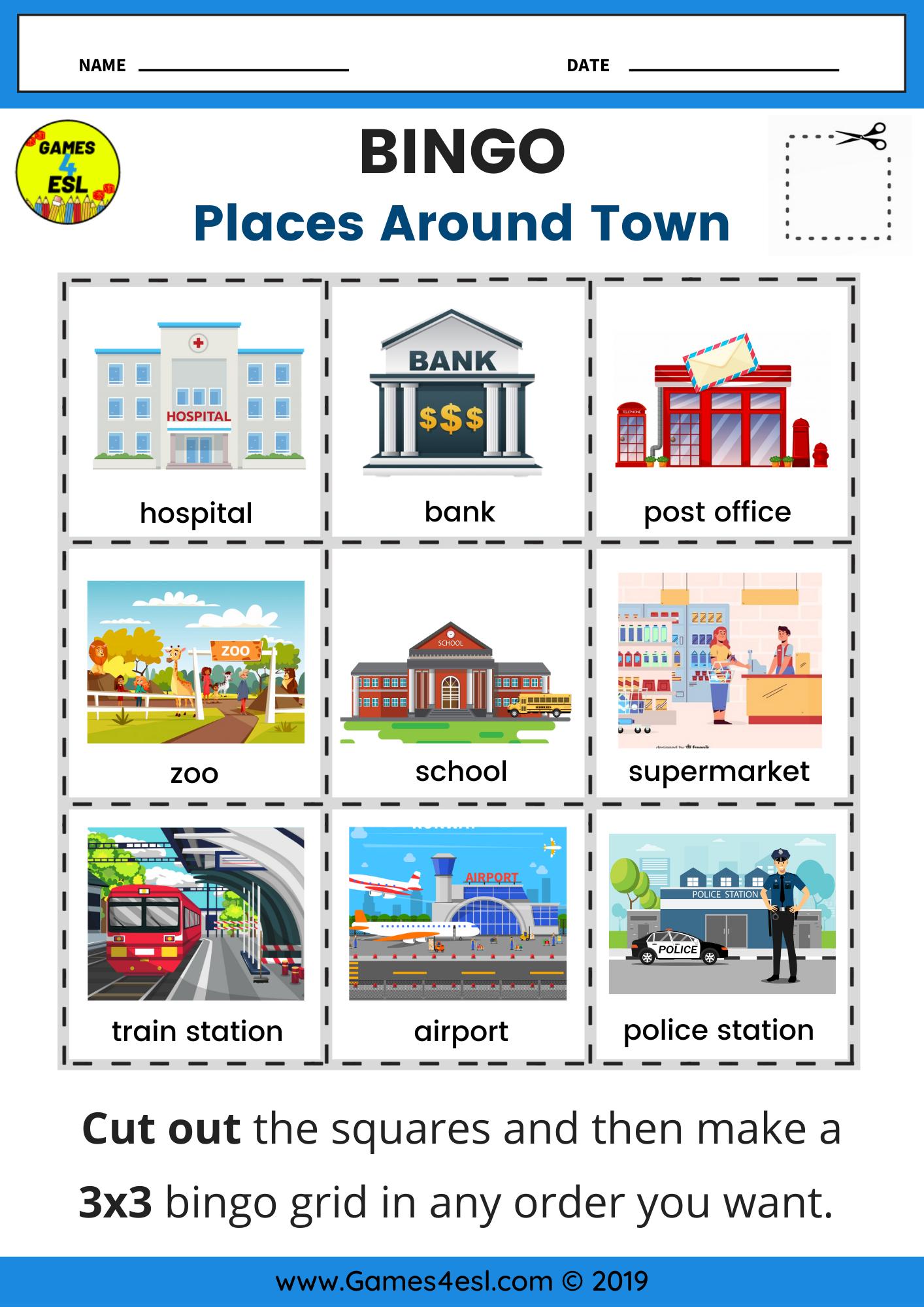 Places Around Town Bingo Worksheet In