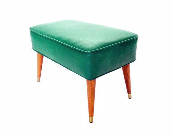 Atomic Foot Stool Teak Wood Ottoman Emerald Green Stool Mid
