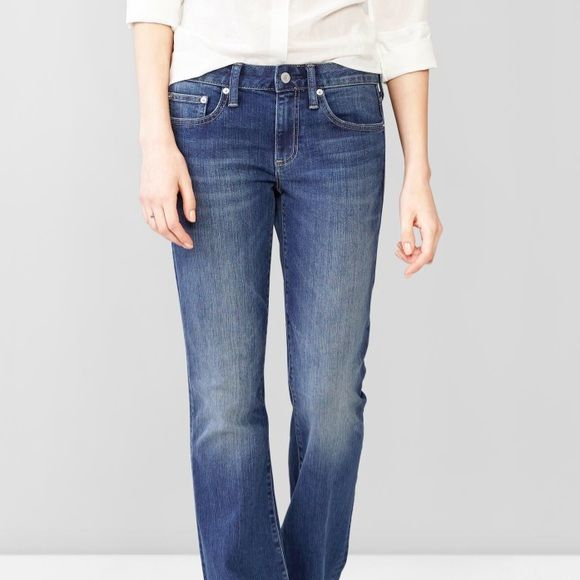 GAP distressed denim The long and lean jeans. Super comfortable. Has two small marks like I'm the third pic, but because the jeans are distressed already it looks nice. Size is 33S. GAP Jeans