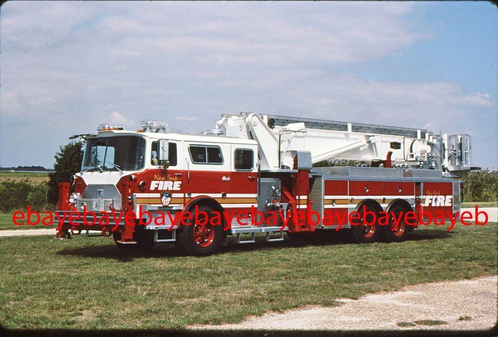 Fire Apparatus Slide, TL 9, FDNY, 1990 Mack CF Aerialscope