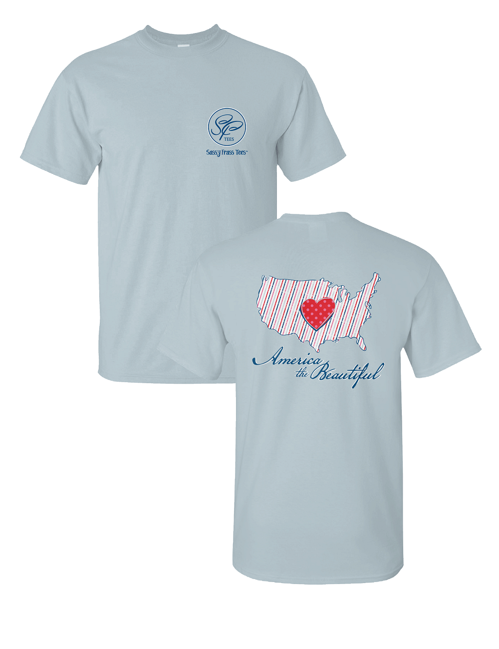 Sassy Frass America the Beautiful Heart Comfort Colors Bright T Shirt