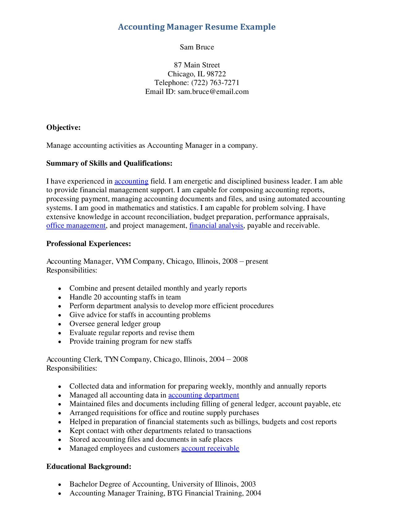 Example Accounting Manager Resume  HttpWwwResumecareerInfo