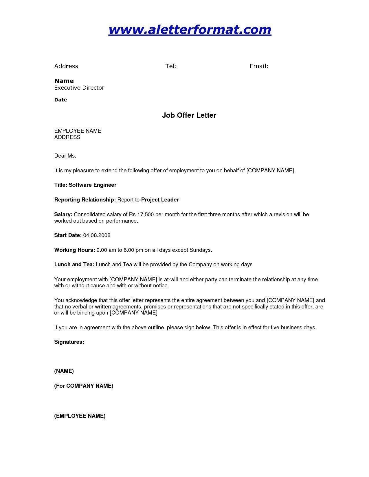 Job Offer Letter Format in 2020 Letter example, Job