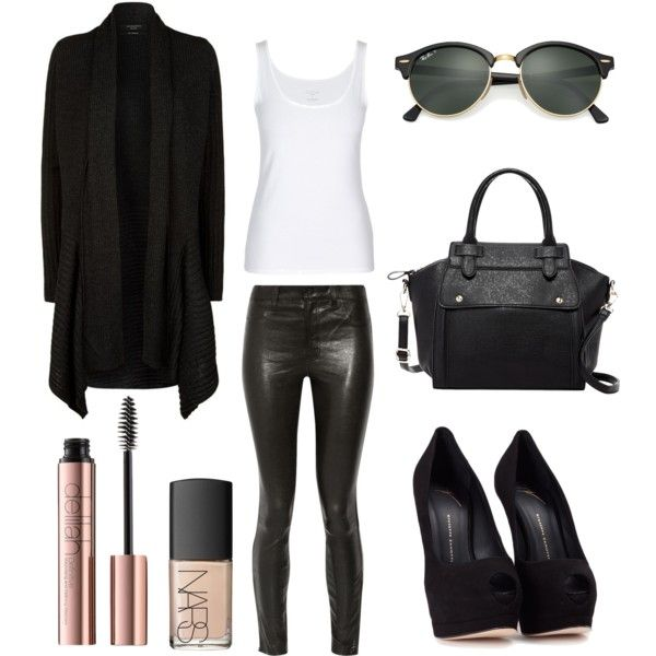 Fashion Outfit featuring AllSaints, J Brand, Giuseppe Zanotti, Pink Haley, Ray-Ban and NARS Cosmetics