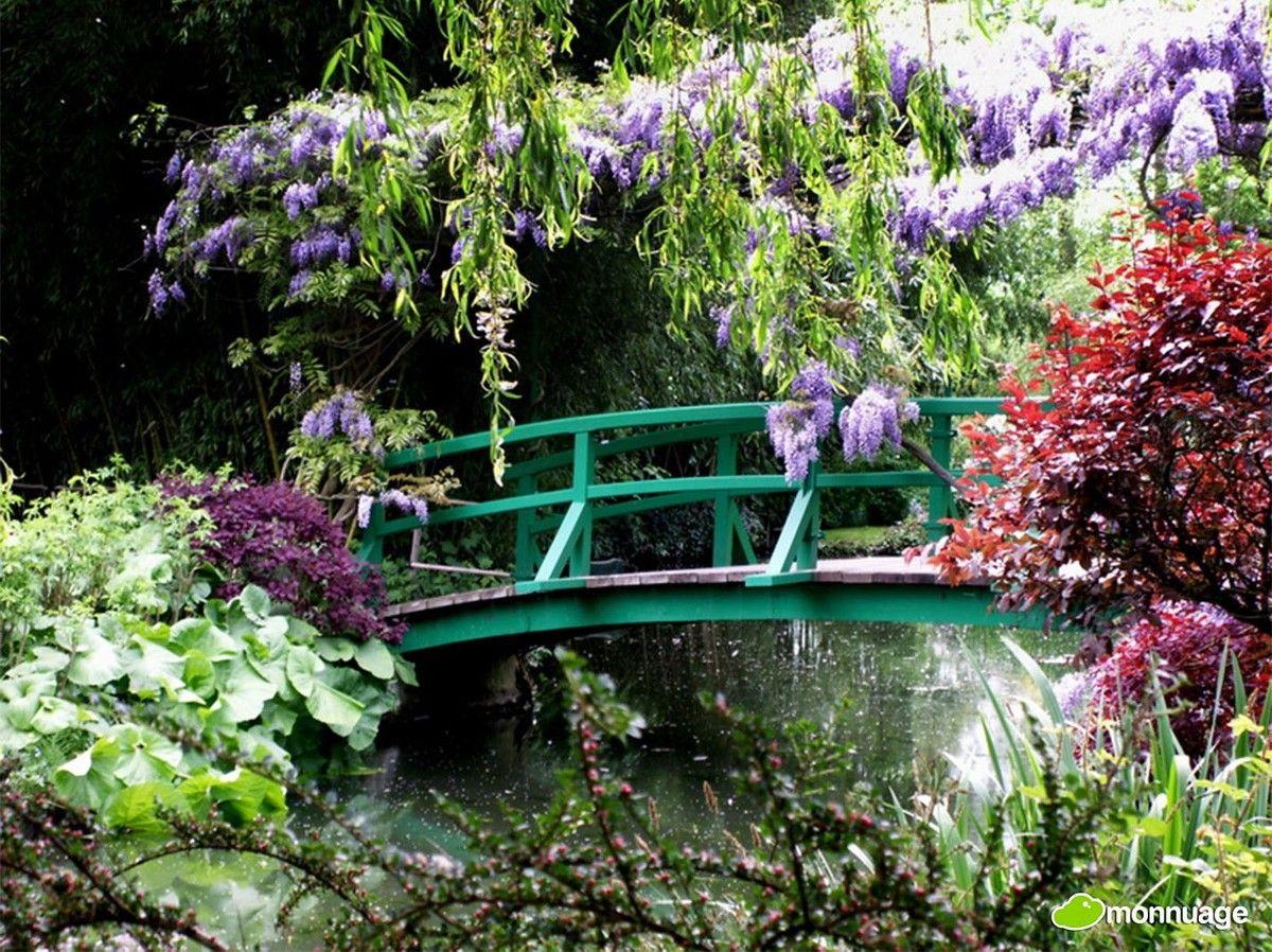 #Jardin de Monet à Giverny (France): nombreuses variétés de fleurs et un pont vert, qui rappelle les parcs japonais