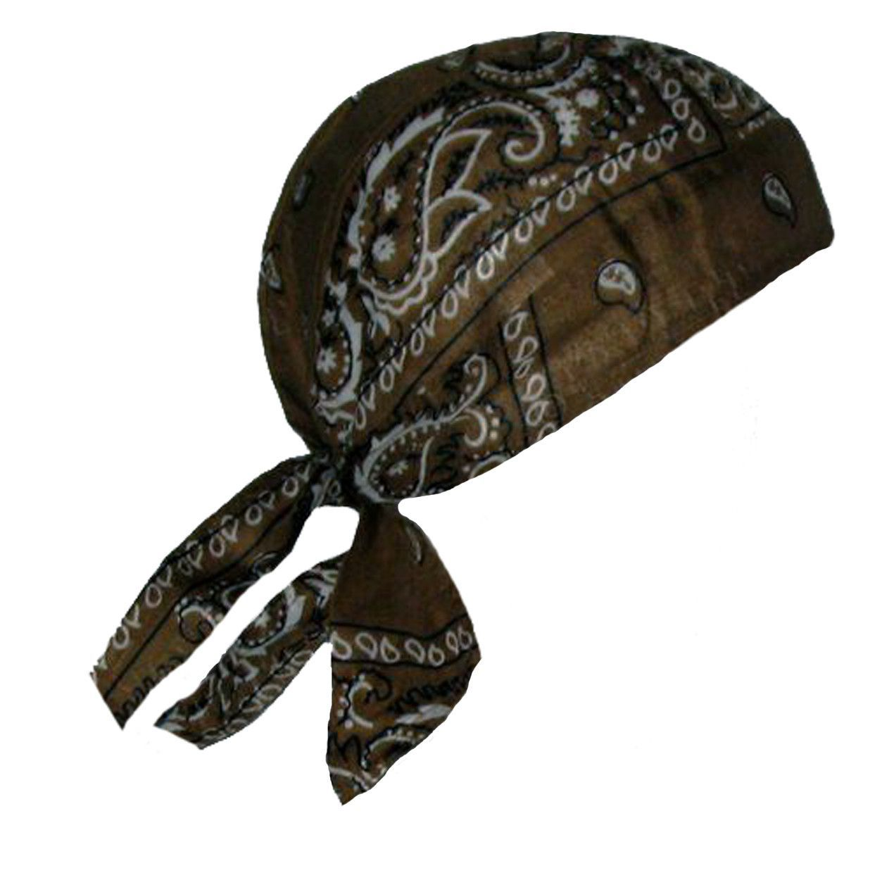 b83464686bc Brown Paisley Headwrap Doo Rag Durag Skull Cap Cotton Sporty Motorcycle Hat