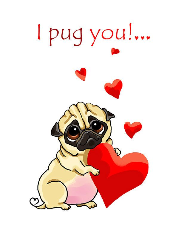 Pug with hearts. Valentine\'s day card. Printable greeting card ...