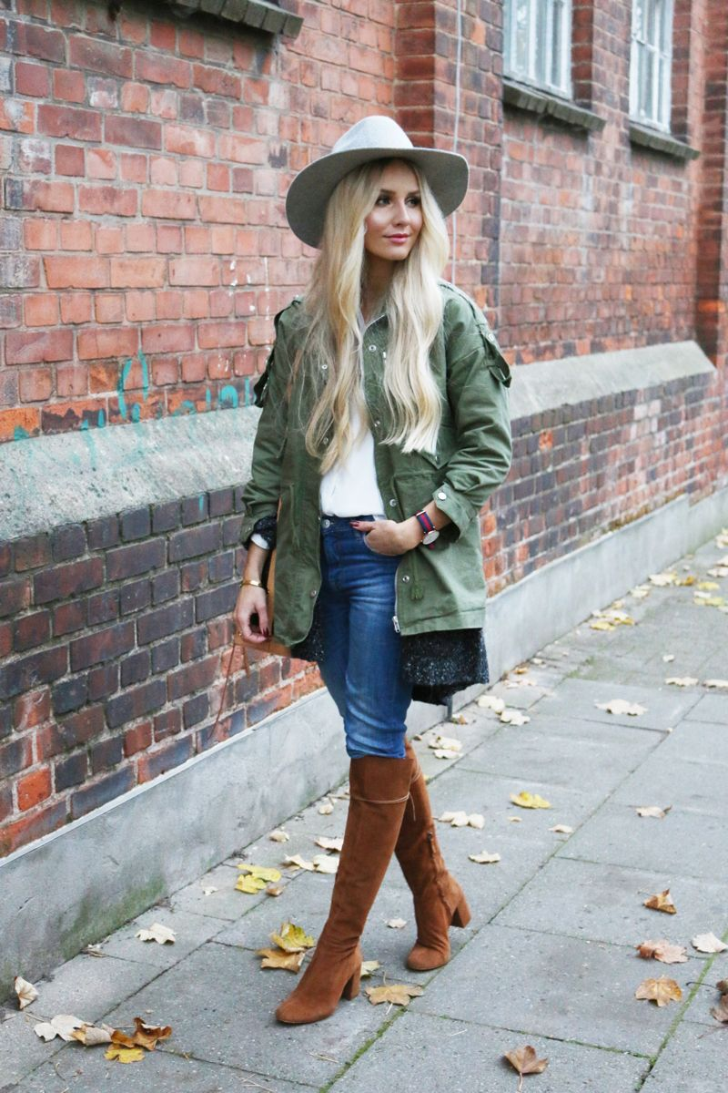 Lookbookstore Green Jacket grey H&M Jacket Brown Suede knee high ...