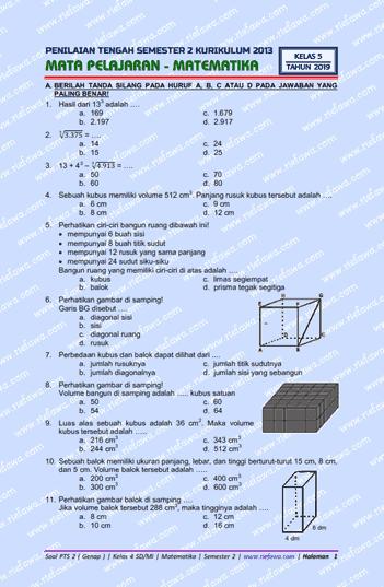 Soal Uts Kelas 5 Semester 2 Matematika : kelas, semester, matematika, Yopri