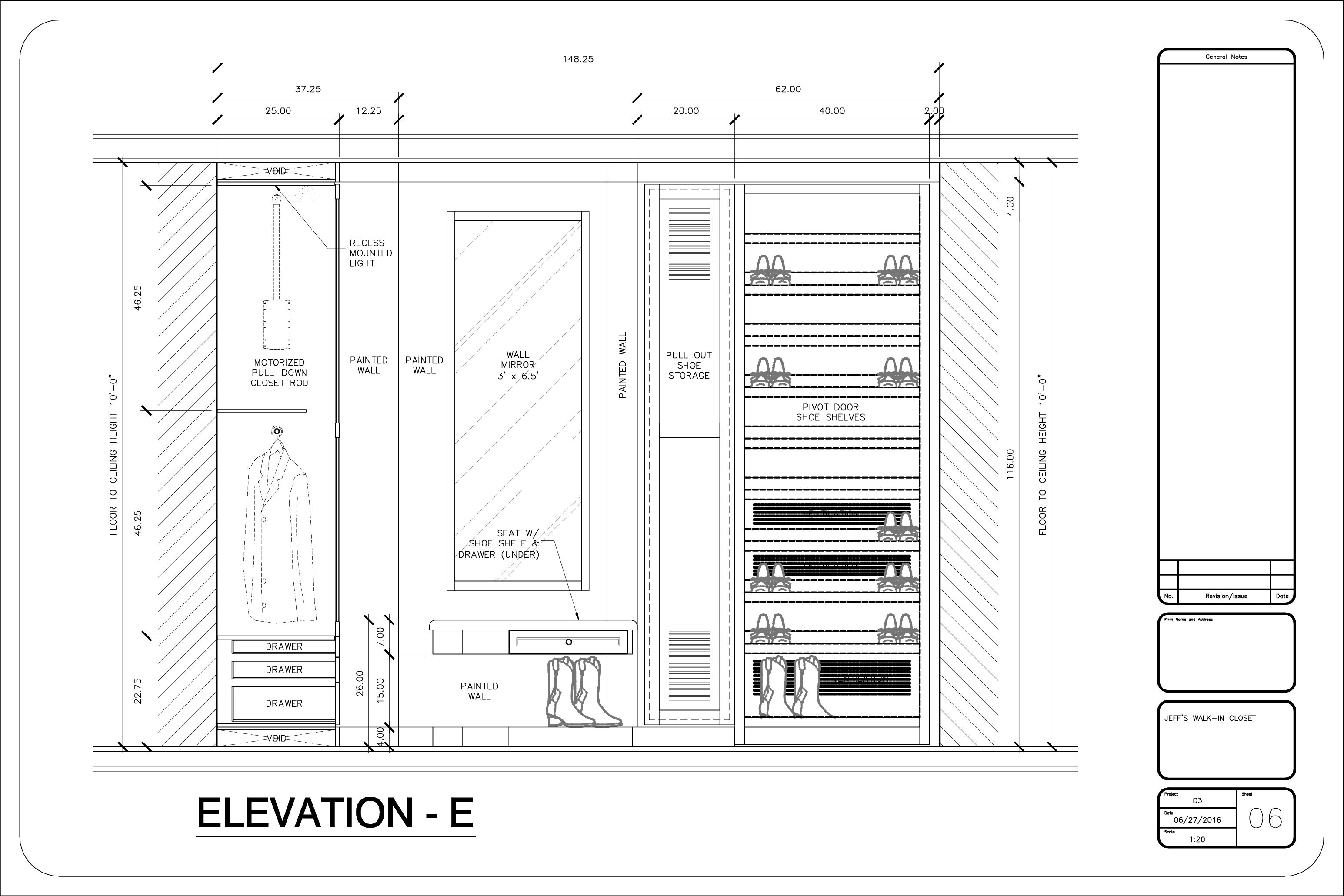 Elevation E Floor Plans Elevation Walk In Closet