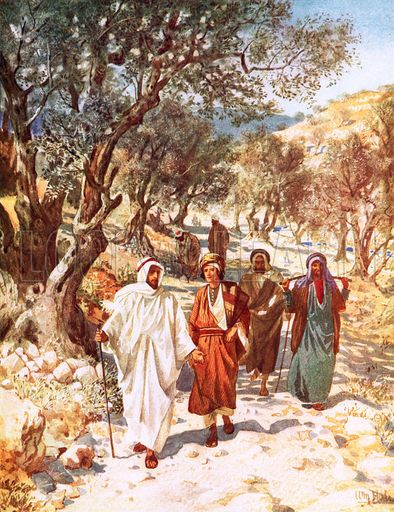 Jesus travels with His disciples | Jesus and His disciples travelling into Galilee, by William Hole