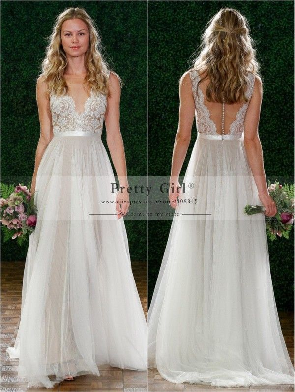 2015 new fashion v neck backless see through sexy chiffon boho wedding dresses romantic bridal