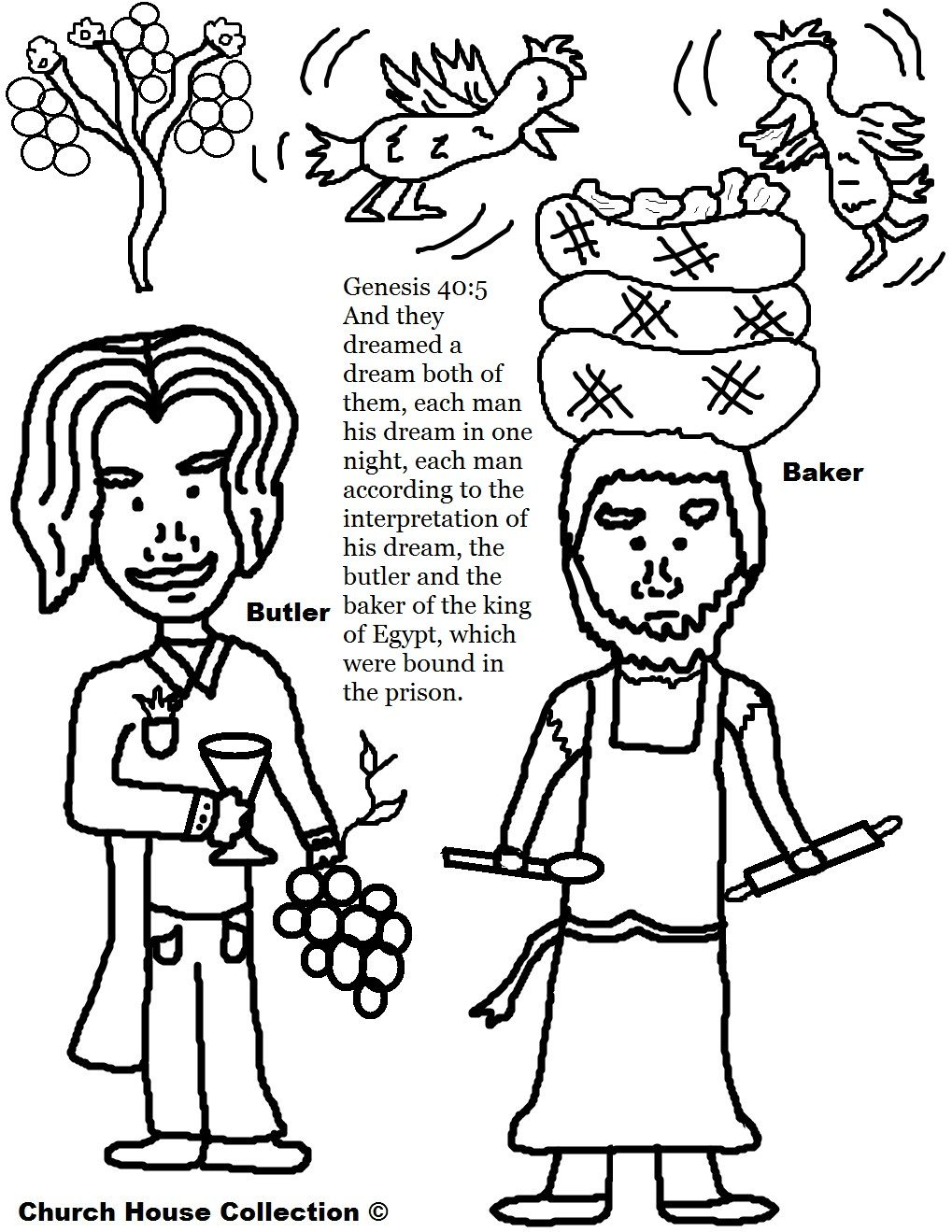 Butler And Baker Dreams Coloring Page Bible Crafts Joseph