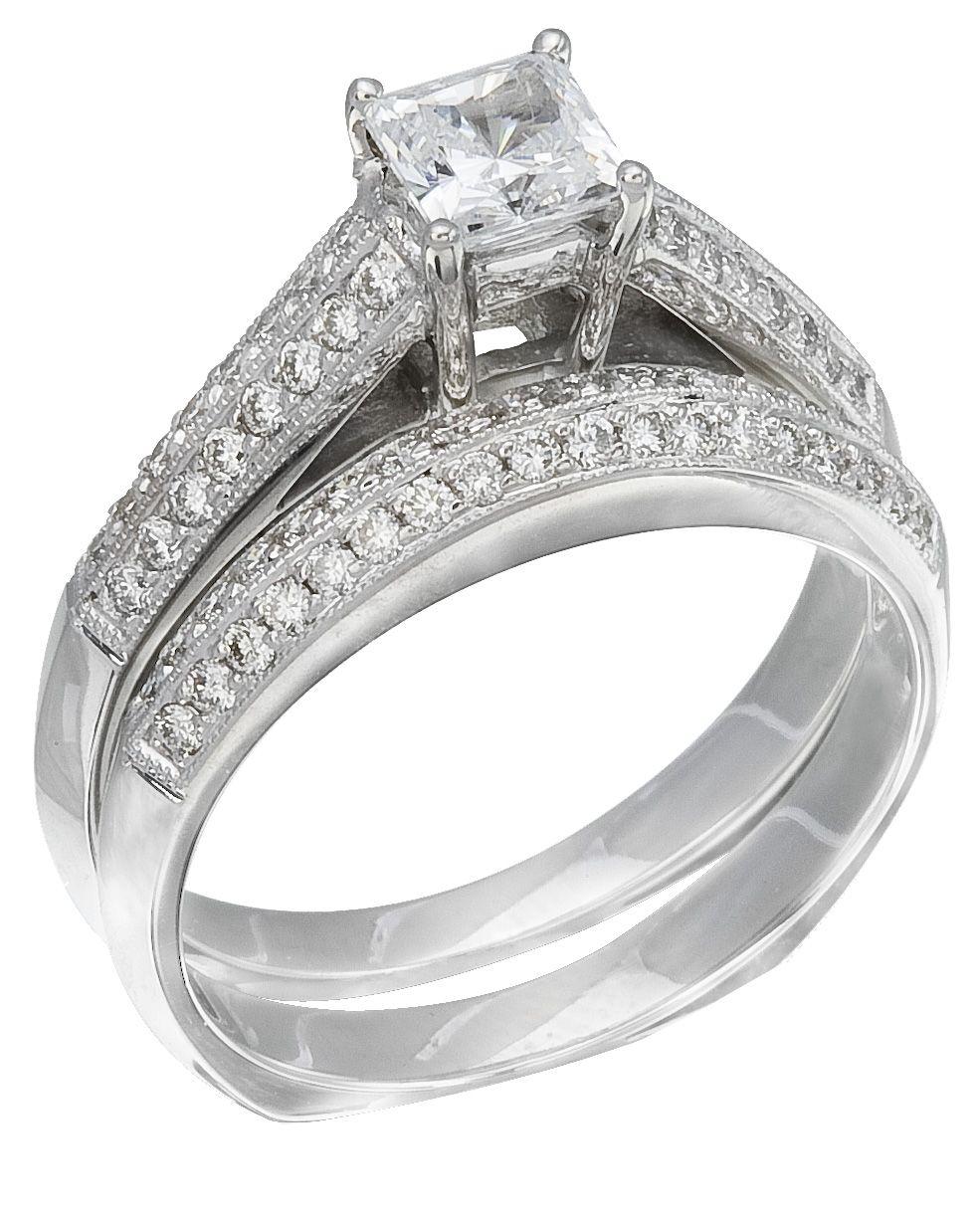 Iamond Wedding Ring Set 46 Carat Diamonds On 14K White Gold