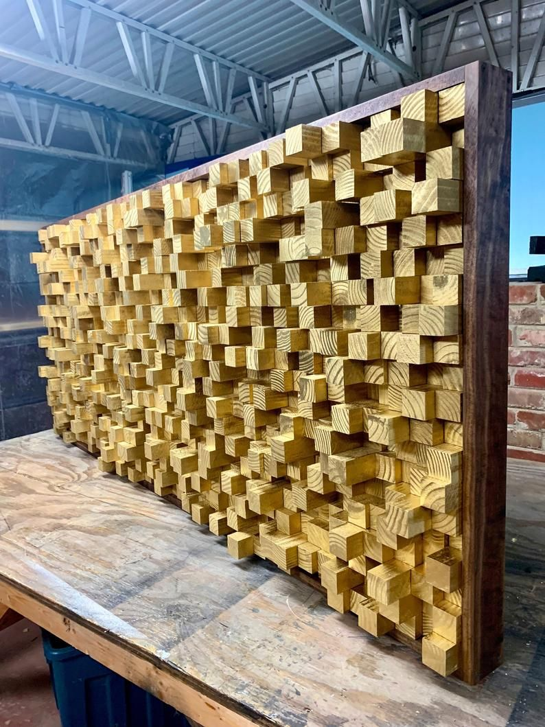 New Wooden Sound Diffuser Acoustic Panel Soundproofing Proof Pixel Gold Wood Art 3d Art Wooden Art Recording Studio Music Theater In 2020 Wood Art Wood Wall Art Wooden Art