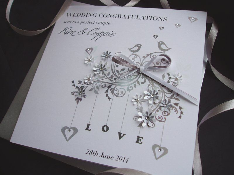 Handmade Wedding Card Featuring Fl Love Birds On High Quality Personalise This