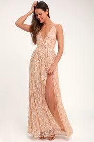 b661c39912b Stunning Sequins Dress - Burgundy and Rose Gold Dress