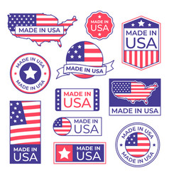Made In Usa Label With Usa Flag Colors And Vector Image Alphabet Illustration American Flag Stamp Design