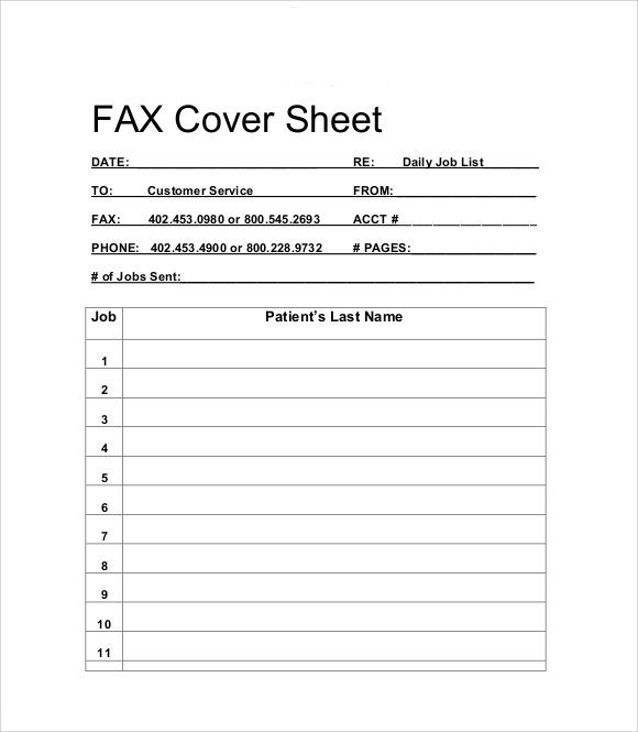 sample fax cover sheet for resume free documents download pdf page - Fax Cover Sheet Free Template