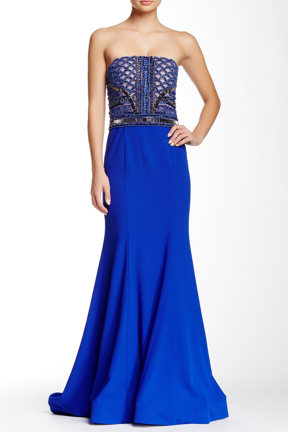TERANI COUTURE | Strapless Geometric Beaded Gown | HauteLook     jαɢlαdy
