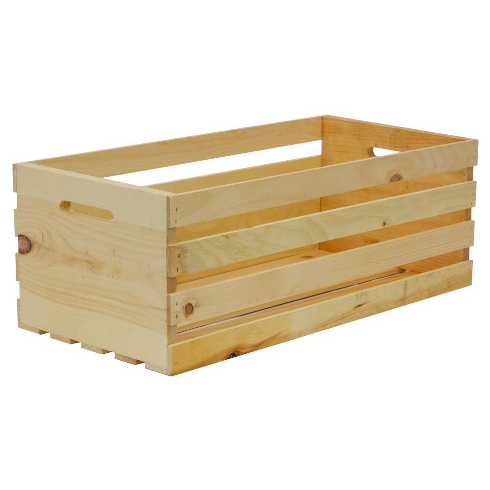 Crates Pallet Crates And Pallet 27 In X 12 5 In X 9 5 In X Large Wood Crate Storage Tote Natural Pine 94621 The Home Depot In 2020 Crate Storage Wood Crates Pallet Crates