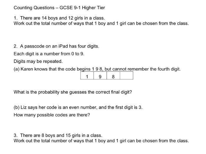 Gcse 9 1 Higher Tier Counting Problems Permutations And